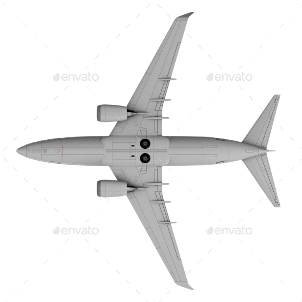 Commercial Jet Plane. 3D Render. Bottom View - Objects 3D Renders