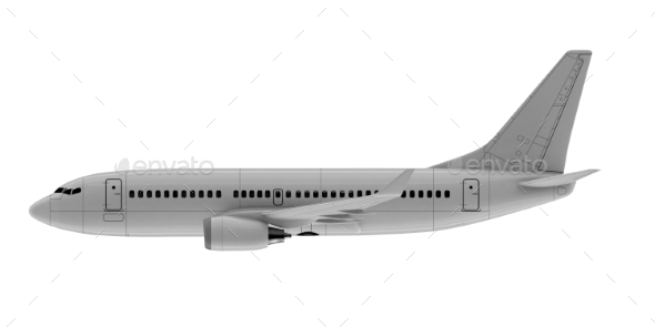 Commercial Jet Plane. 3D Render. Side View - Objects 3D Renders