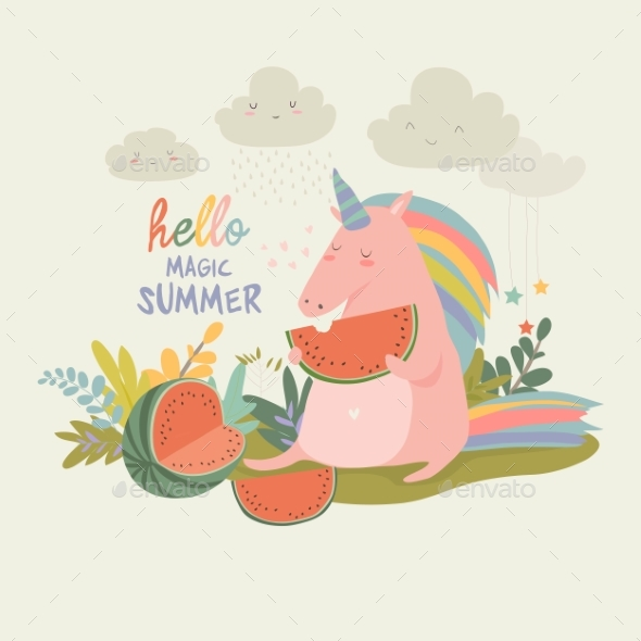 Unicorn with Watermelon - Animals Characters
