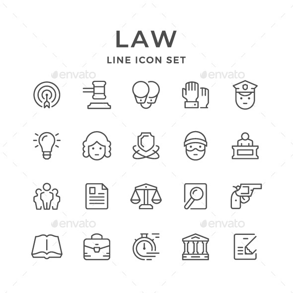 Set Line Icons of Law - Man-made objects Objects