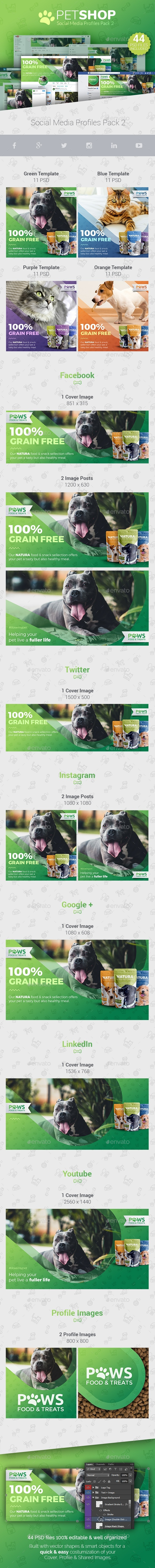 PetShop - Social Media Cover/Profile Pack 2 - Social Media Web Elements
