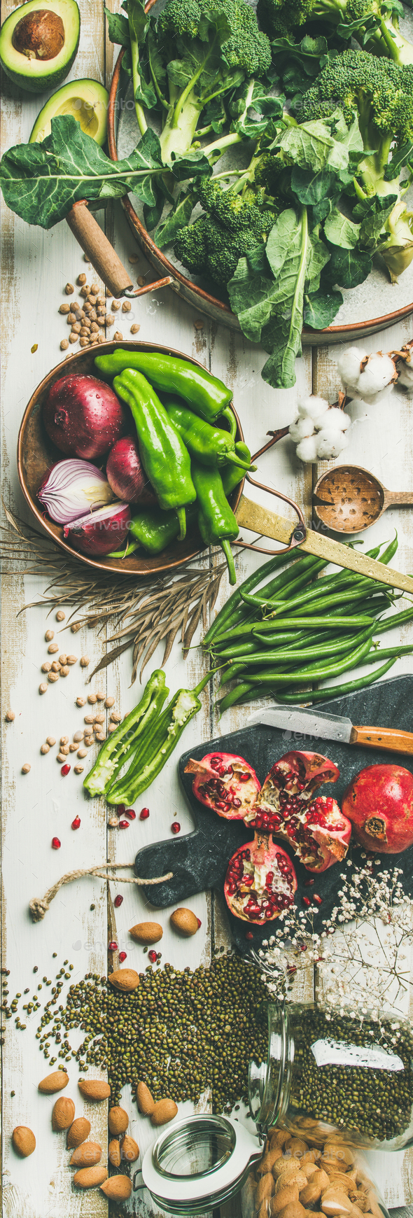 Winter vegetarian food cooking ingredients over white background - Stock Photo - Images