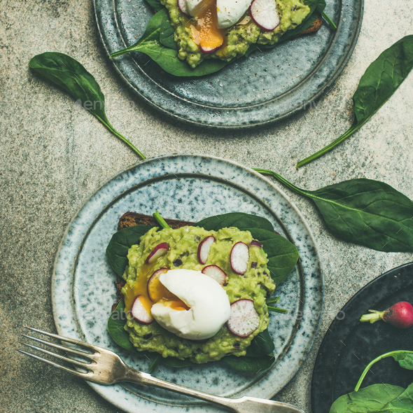 Healthy vegetarian gluten-free breakfast toasts flat-lay, square crop - Stock Photo - Images
