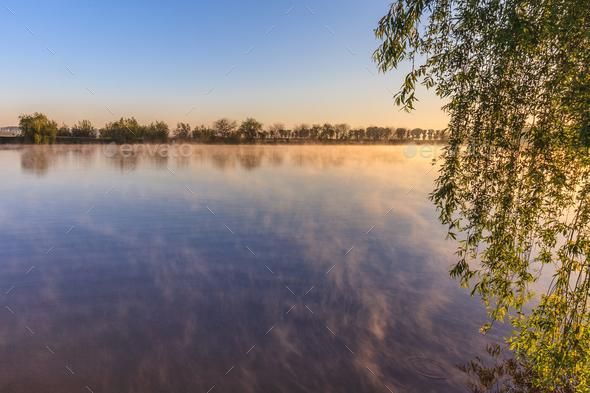 sunrise on the lake - Stock Photo - Images