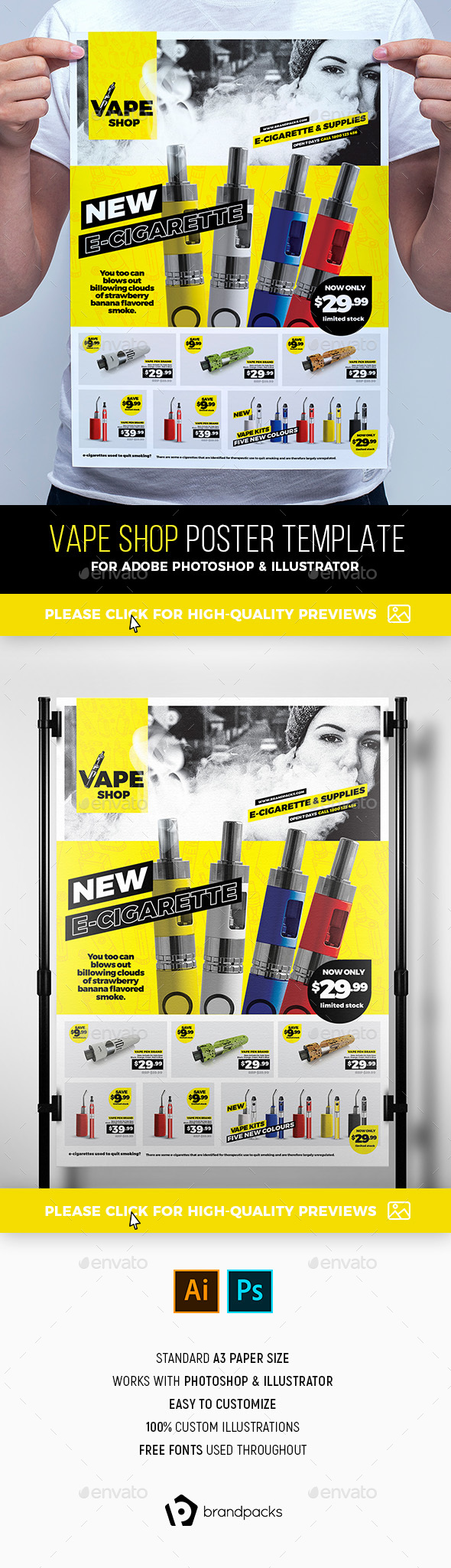 Vape Shop Poster Template - Commerce Flyers