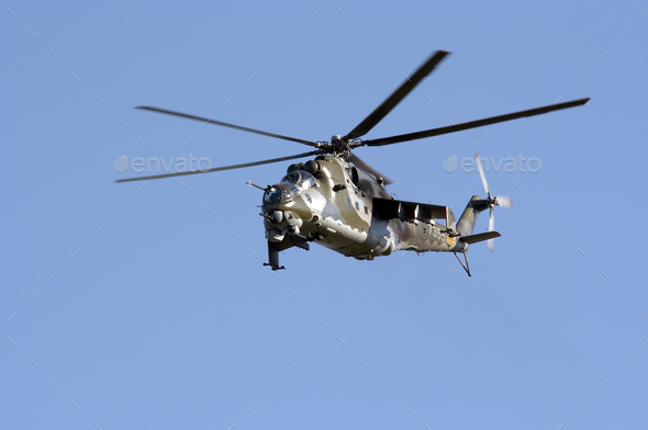 Flying gunship MI-24 - Stock Photo - Images