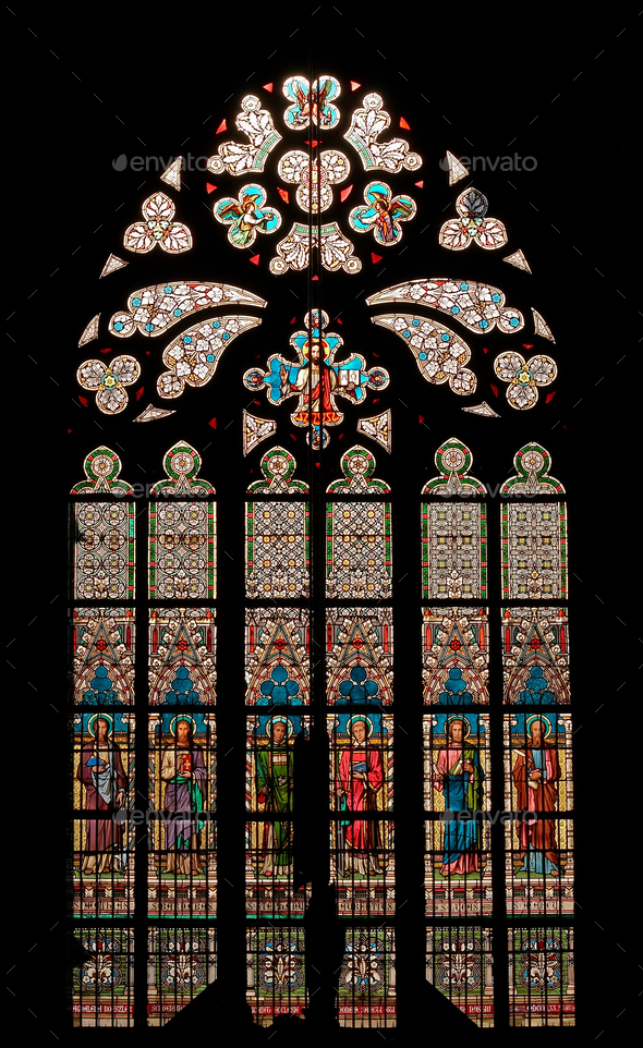 Gothic window - bullseye pane - Stock Photo - Images