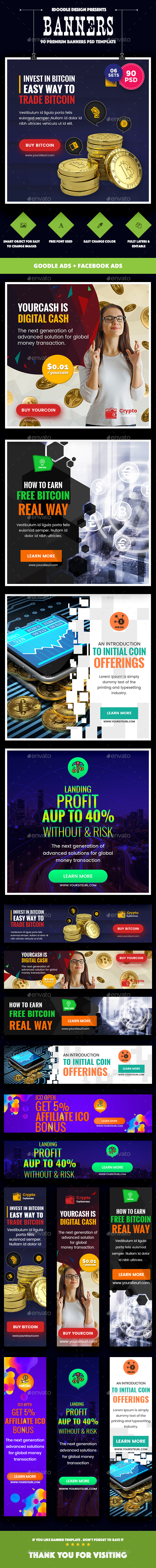 Bundle Cryptocurrency Banners Ad - 90 PSD [06 Sets] - Banners & Ads Web Elements