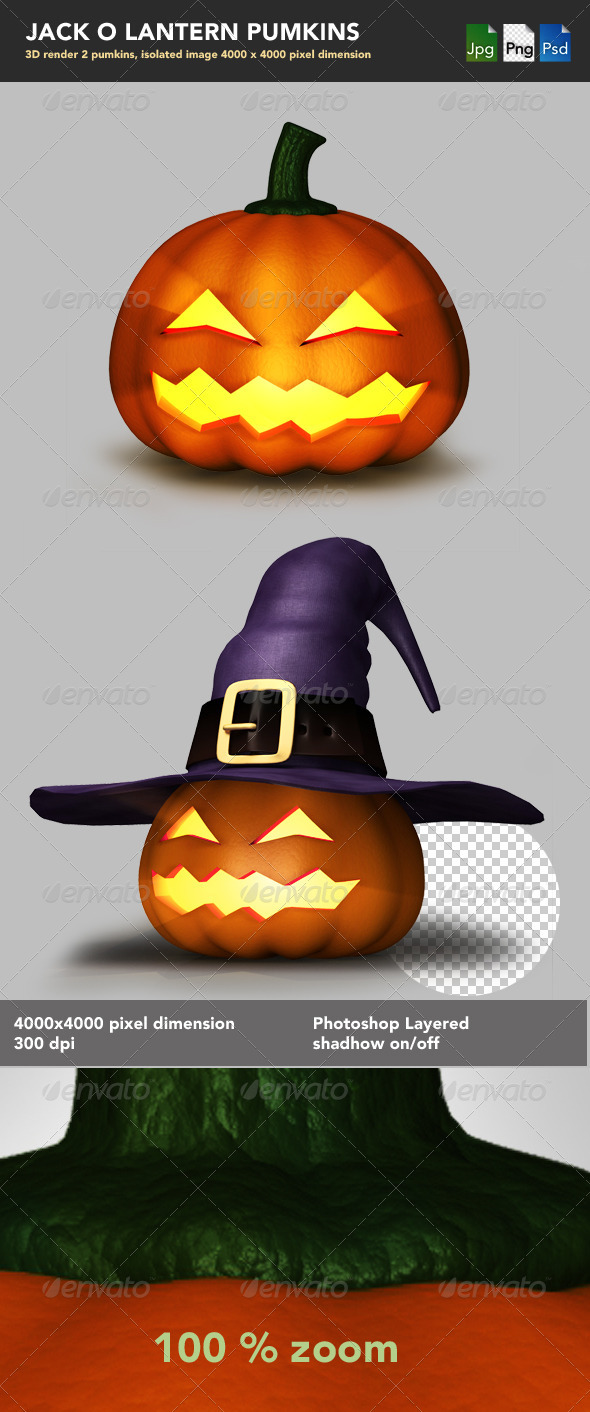 Jack-o-Lantern Pumpkins - Objects 3D Renders