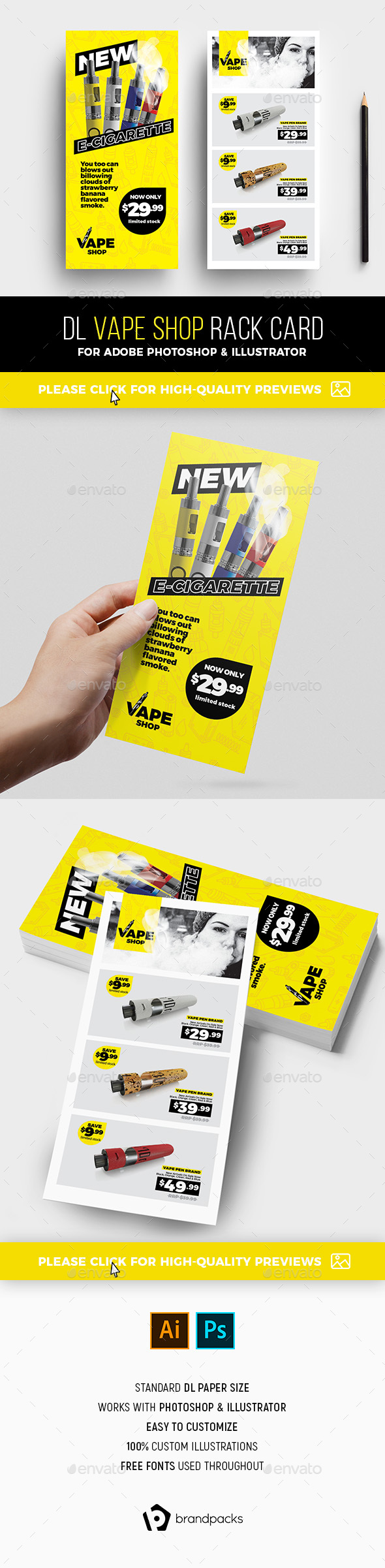 DL Vape Shop Rack Card Template - Commerce Flyers