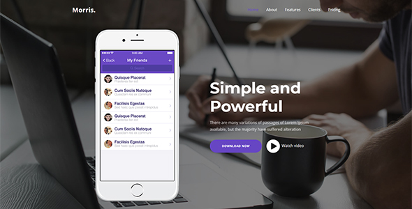 Morris - App & Product Landing Page - Technology WordPress