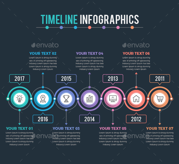 Timeline Infographics with Dark Background - Infographics