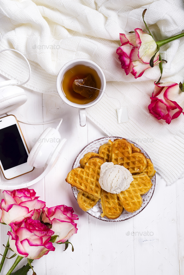 Morning breakfast with waffles, - Stock Photo - Images