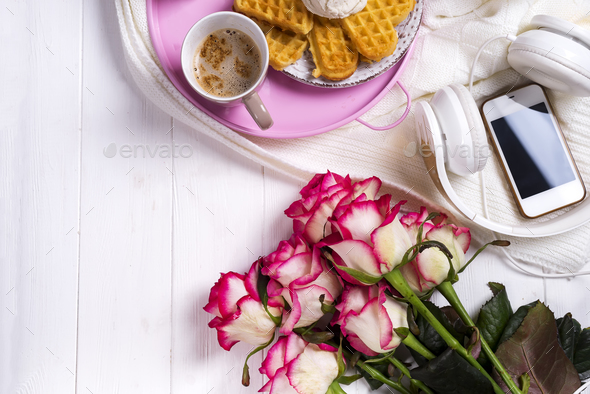 Coffee with waffles and roses. Valentine's Day or 8 march . Delicious Breakfast. - Stock Photo - Images