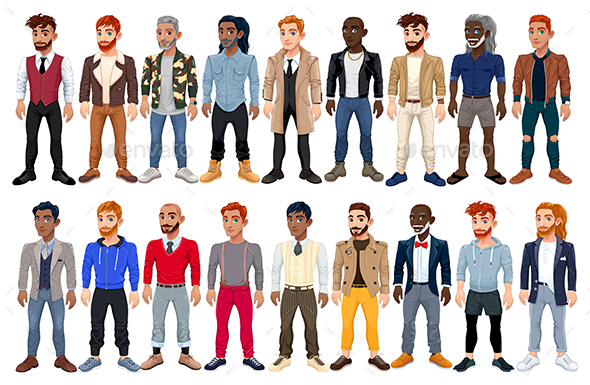 Varied Male Fashion Avatar - People Characters