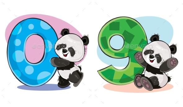 Vector Set of Baby Panda Bears with Numbers - Birthdays Seasons/Holidays