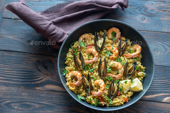 Seafood paella  - Stock Photo - Images