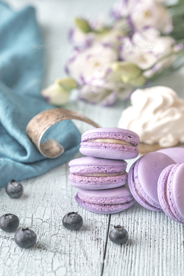 Macarons with fresh blueberries - Stock Photo - Images