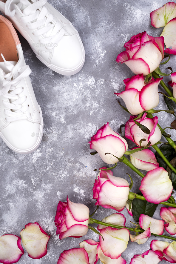 roses and fashionable shoes - Stock Photo - Images
