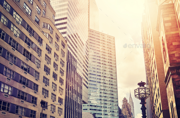Manhattan skyscrapers, NYC, USA. - Stock Photo - Images