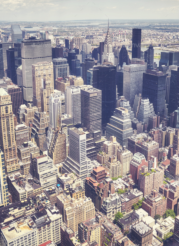 Aerial view of the Manhattan, New York, USA. - Stock Photo - Images