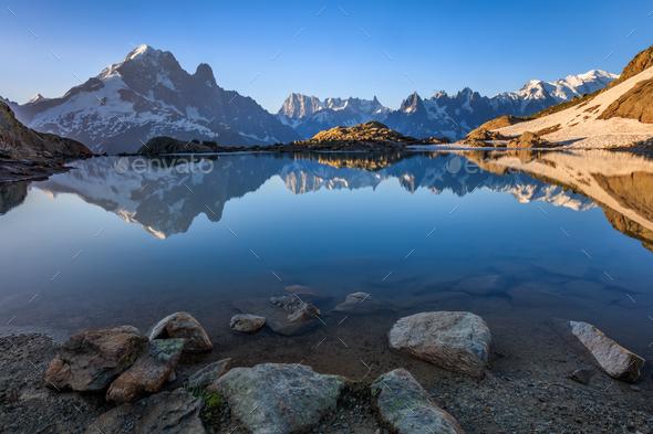 Lac Blanc, Graian Alps, France - Stock Photo - Images
