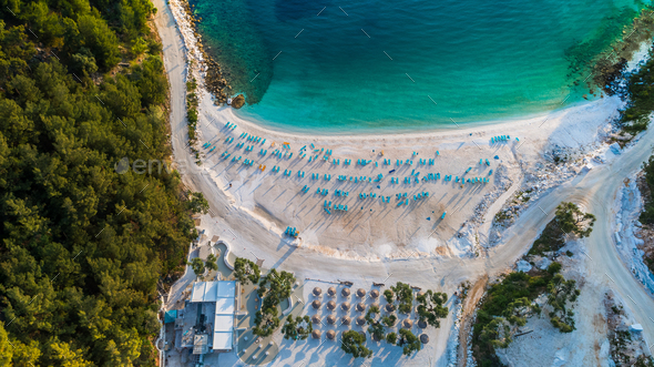 Porto Vathy Marble Beach in Thassos Island Greece - Stock Photo - Images