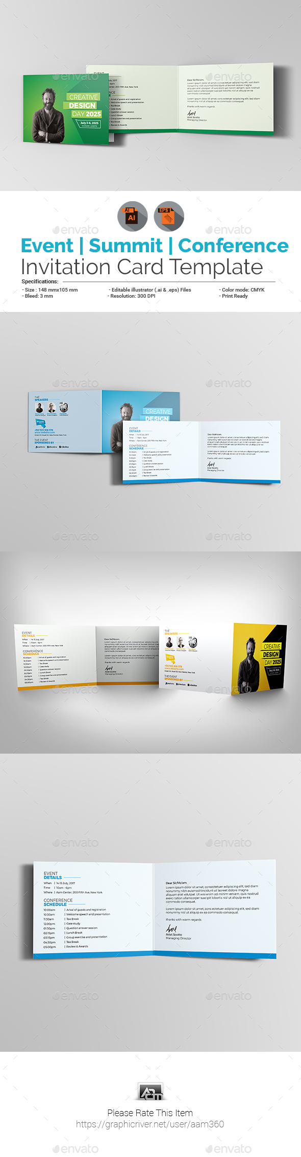 Event / Summit / Conference Invitation Card Template - Cards & Invites Print Templates