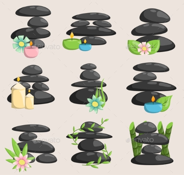 Spa Stones Isolated Vector and Relaxation Isolated - Objects Vectors