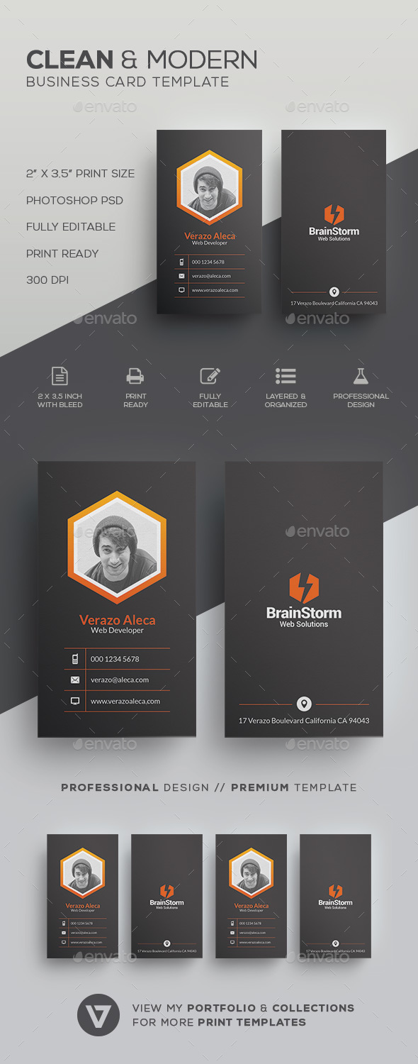 Clean Modern Business Card Template by verazo | GraphicRiver
