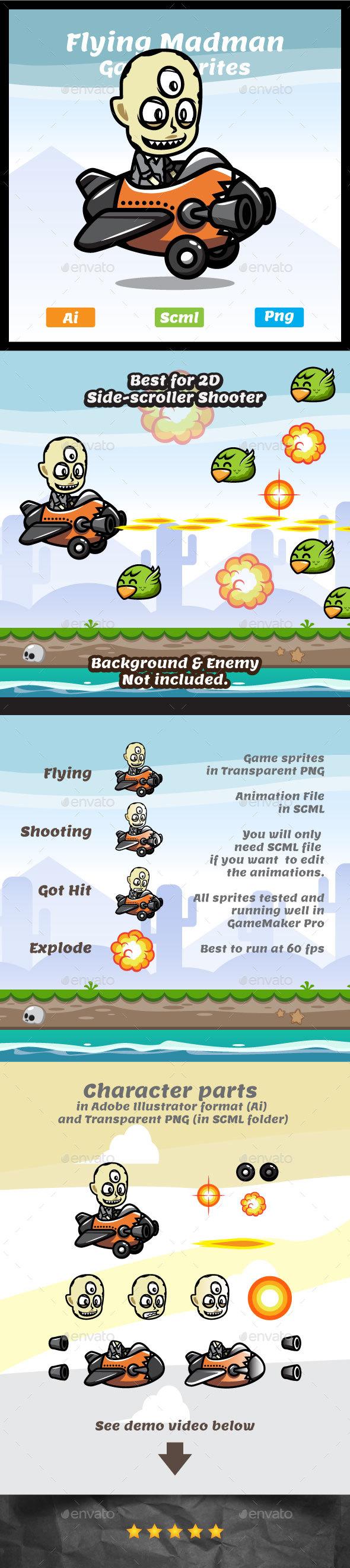 Flying Madman Game Asset - Sprites Game Assets