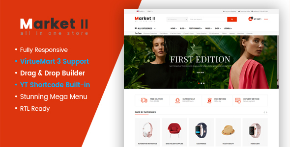 Image of Market II - Multipurpose eCommerce VirtueMart 3 Joomla Template