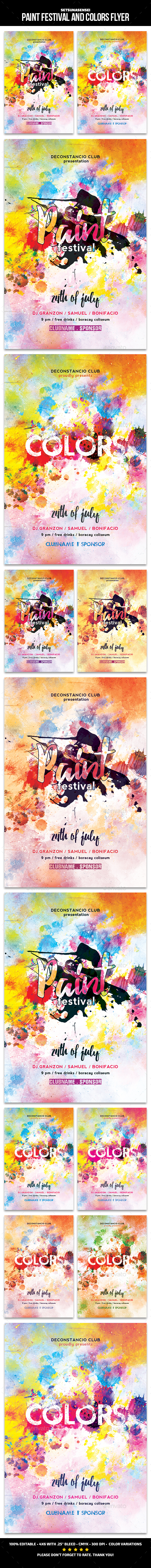 Paint Festival and Colors Flyer - Events Flyers