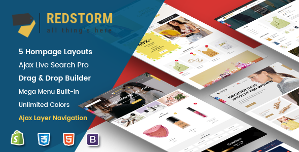 RedStorm - Creative Drag & Drop Sectioned Responsive Shopify Theme - Shopify eCommerce