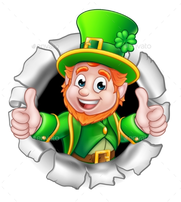 St Patricks Day Leprechaun Breaking Background - Seasons/Holidays Conceptual