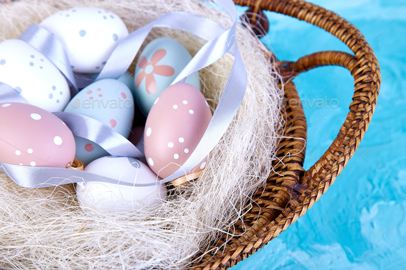 Easter egg in basket - Stock Photo - Images