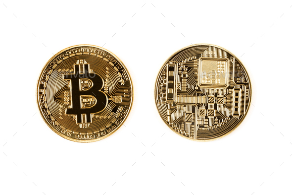 Golden Bitcoin on a white background  - Stock Photo - Images