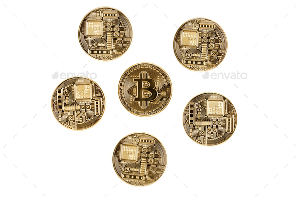 Bitcoins on a white background  - Stock Photo - Images