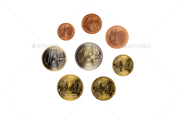 European coins on a white background  - Stock Photo - Images