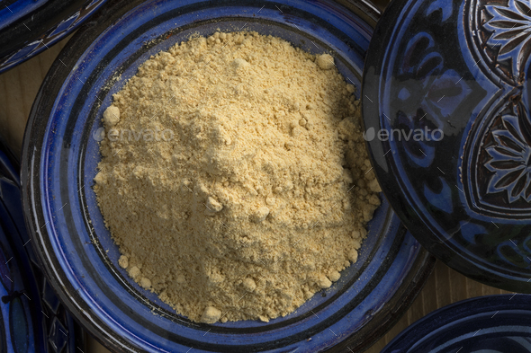 Traditional bowl with Moroccan dried ginger powder - Stock Photo - Images