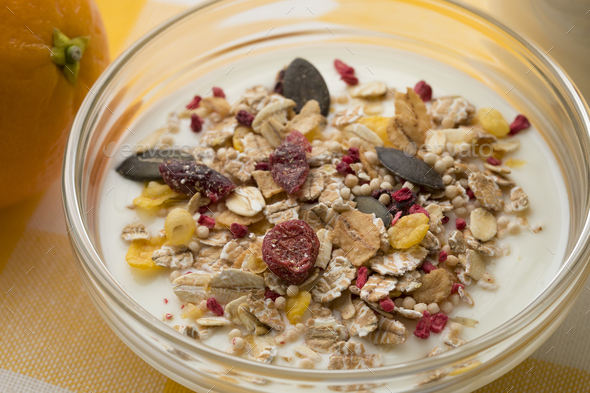 Bowl with Yogurt and organic muesli - Stock Photo - Images