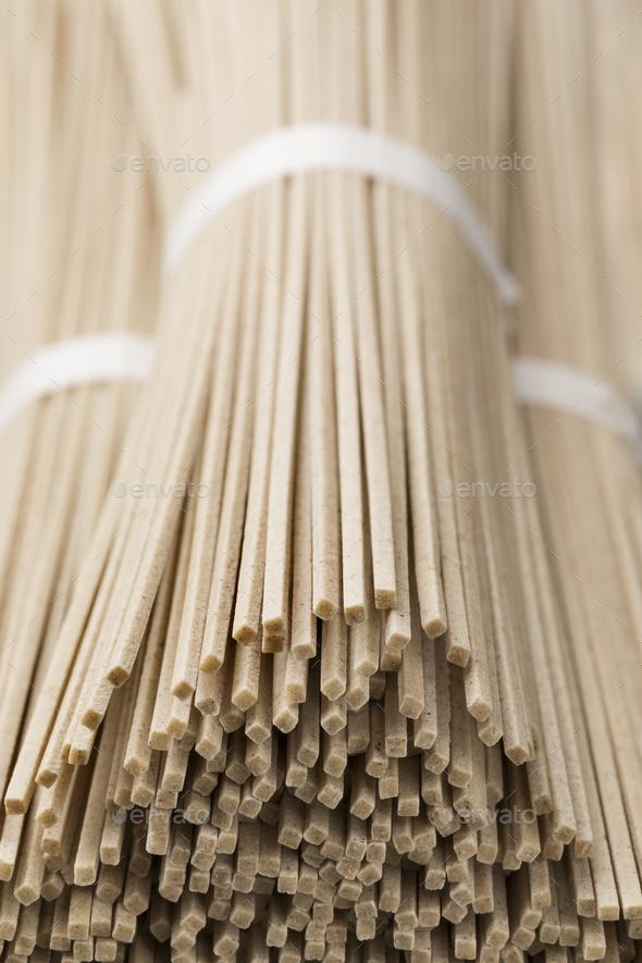 Japanese raw soba noodles bundles - Stock Photo - Images