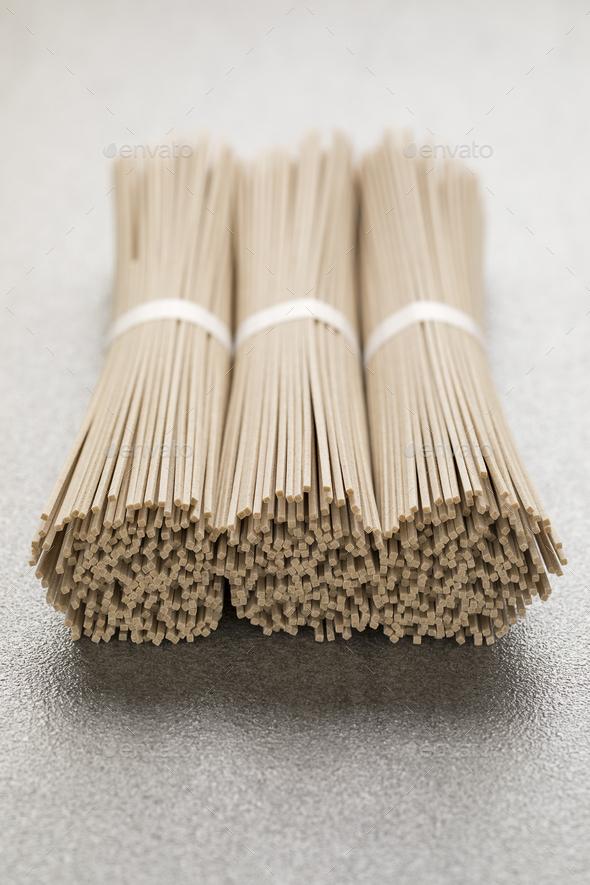 Japanese raw soba noodles - Stock Photo - Images