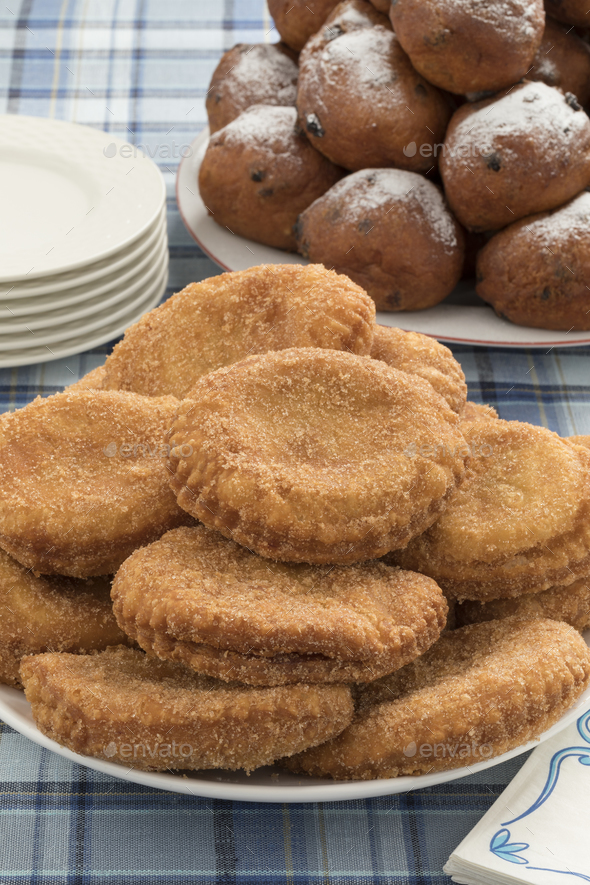 Dish with appelflappen, a traditional Dutch pastry for New Year' - Stock Photo - Images