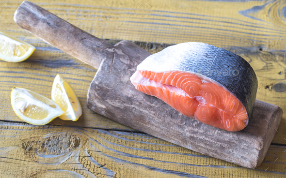 Raw salmon steak - Stock Photo - Images