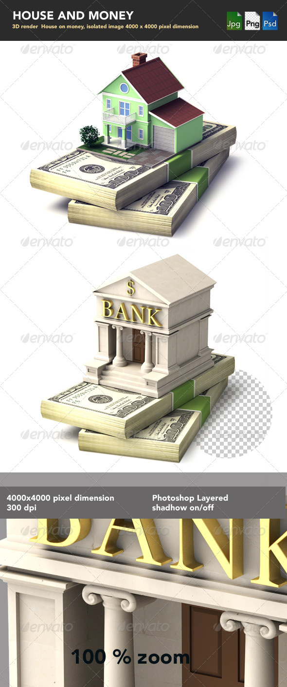 House on Money Stack  - Objects 3D Renders