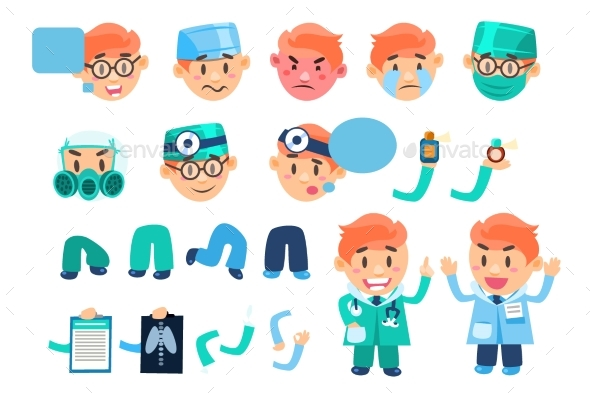Male Doctor Animated Character Set, Various Face - Health/Medicine Conceptual