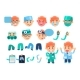 Male Doctor Animated Character Set, Various Face - GraphicRiver Item for Sale