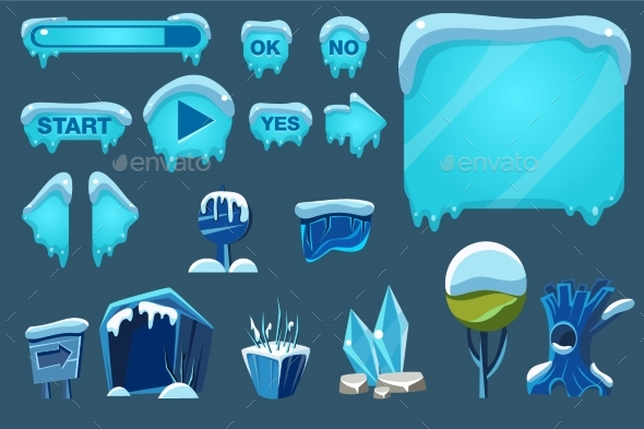 Buttons with Snow Set, Game User Interface - Miscellaneous Vectors
