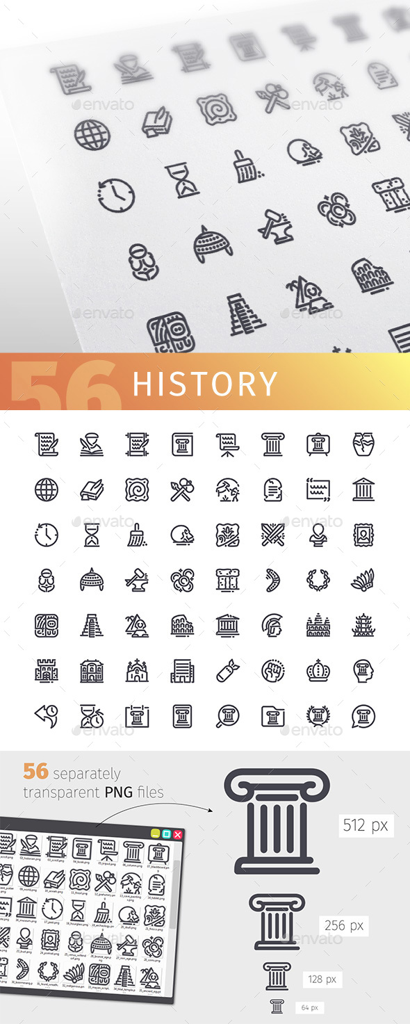 History Line Icons Set - Objects Icons